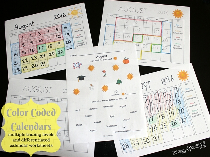 These are essential in my special education classroom my students absolutely love filling out and coloring their calendars as it really helps them know