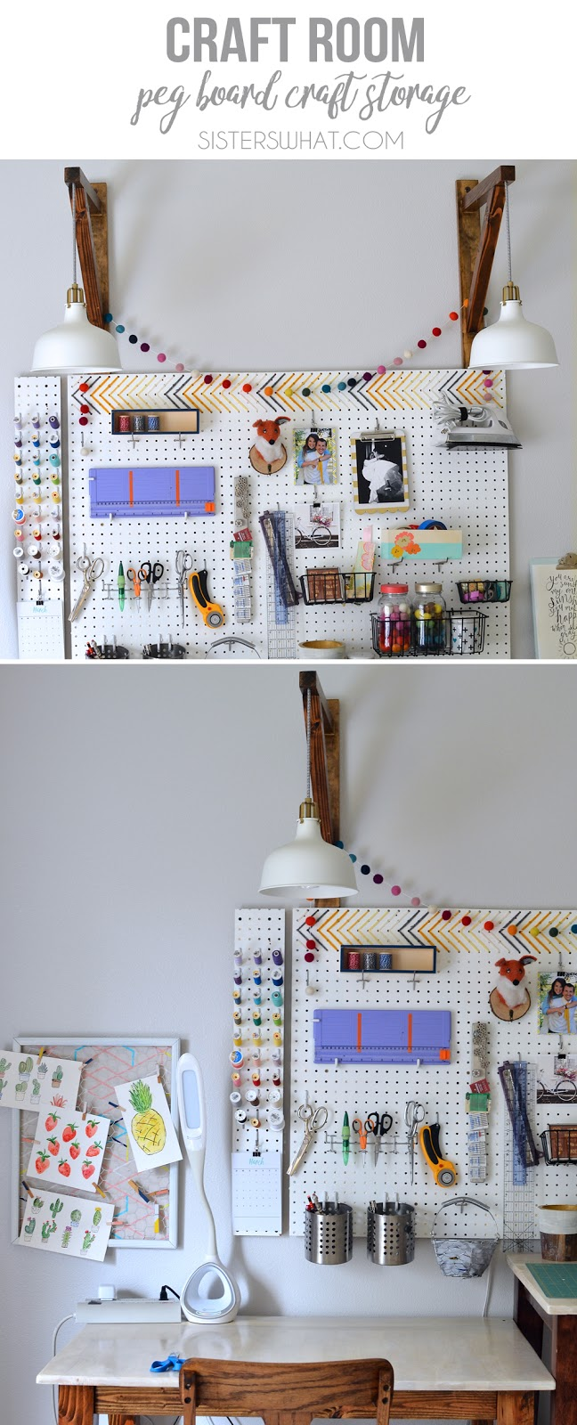a fun and colorful way to store all craft supply in craft room on a pegboard
