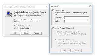 syskey lock pasword setup