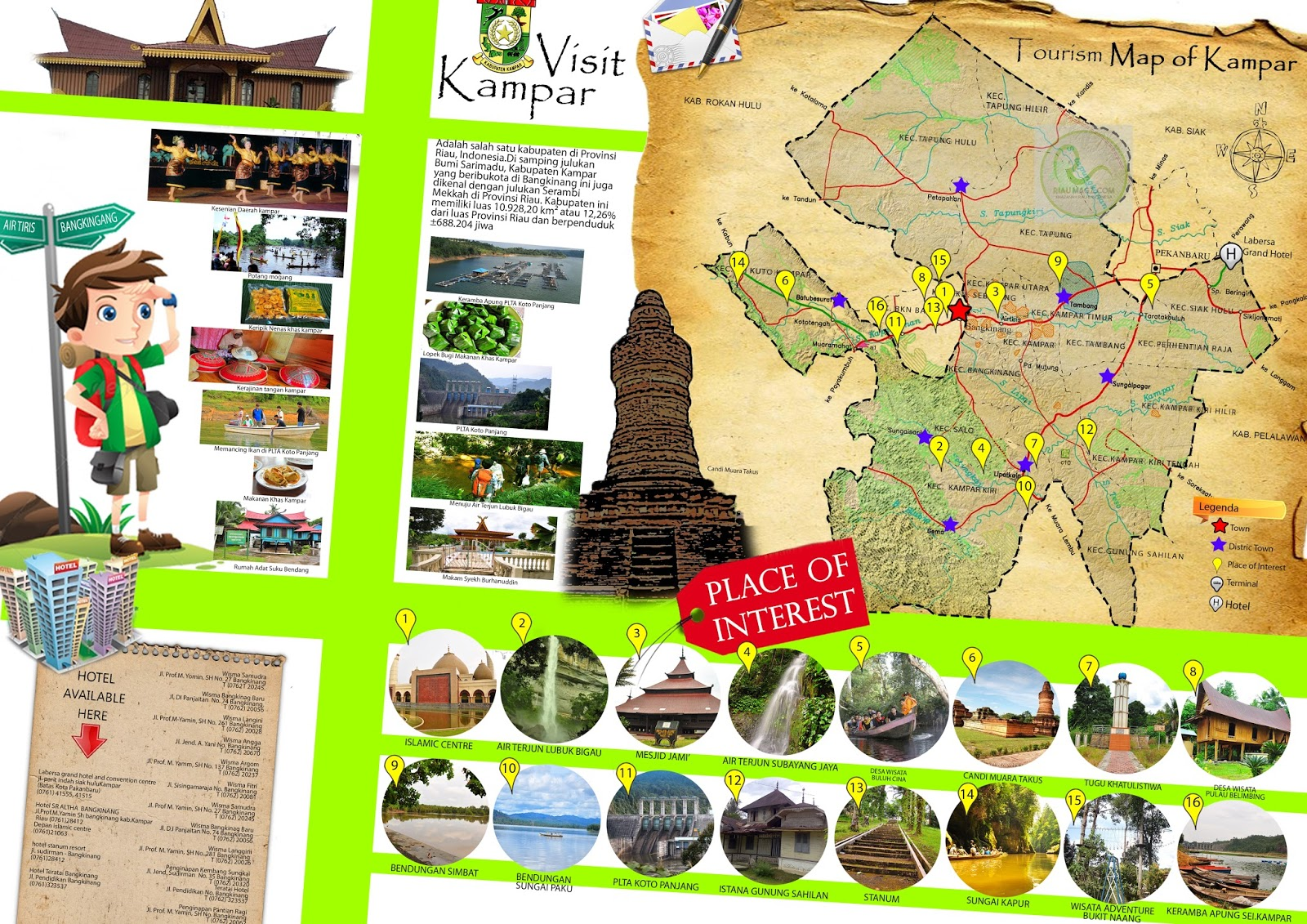 Peta Wisata Kabupaten Kampar - Tourism Map of Kampar ...