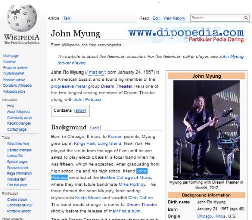Screenshot Laman Wiki John Myung - Dipopedia