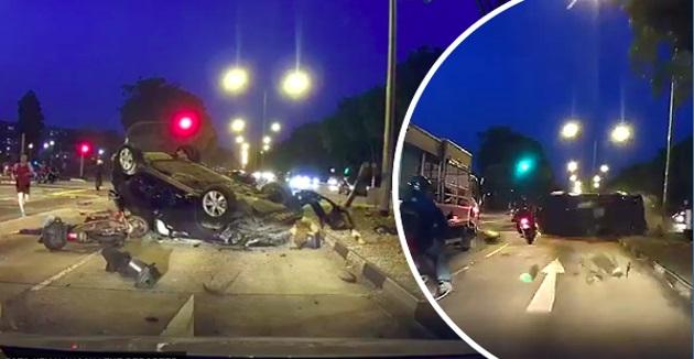 Penunggang Motosikal Maut, Dirempuh Kereta Terbabas Sebelum Digilis Lori