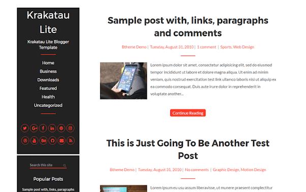 Krakatau Free Blogger Template