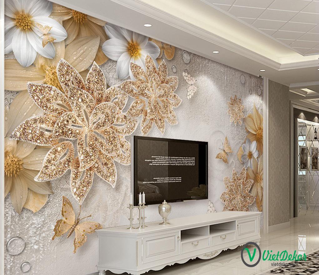 Tranh dán tường 3d hoa bướm phòng ngủ đẹp