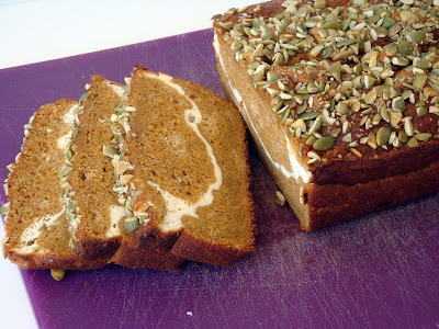 Layered Pumpkin Loaf - a delicious pumpkin bread with a cream cheese swirl in the middle.  So good!