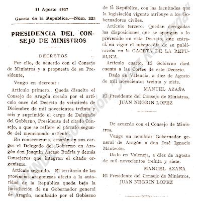 Extracto del Decreto de Disolución del C.R.D.A. y el del nombramiento de Gobernador General de Aragón.