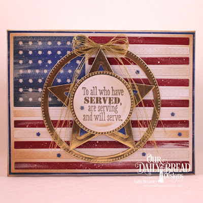 Our Daily Bread Designs Stamp Set: Remembrance, Custom Dies: USA Flag, Pierced Circles, Circles, Sparkling Stars