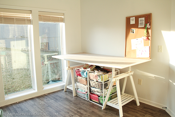 Bright white and aqua craft room