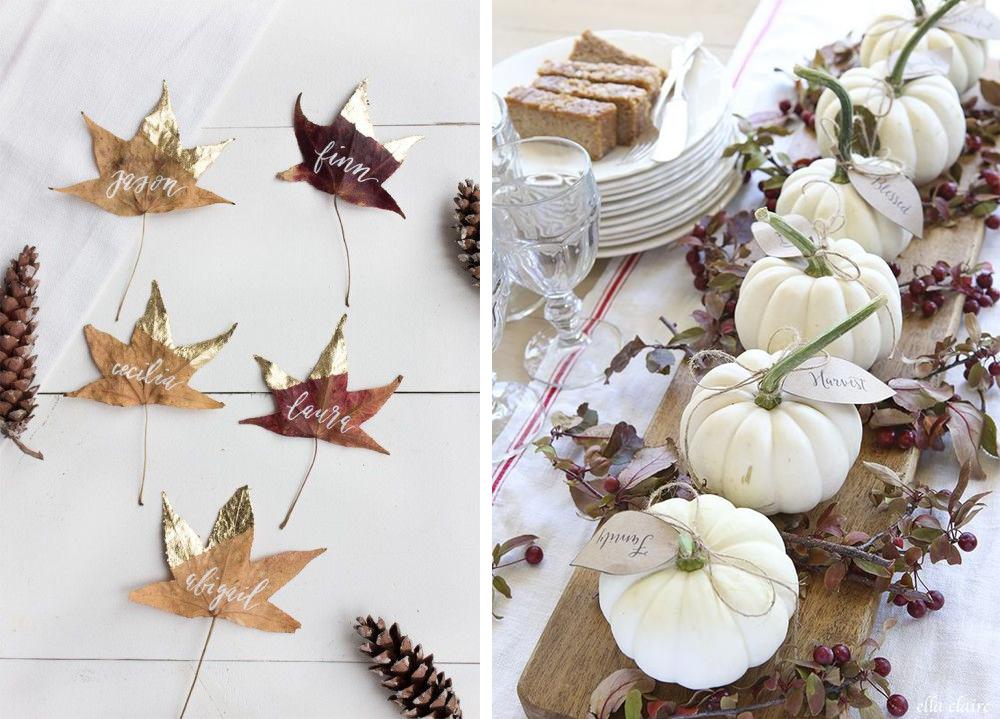 diy nombre de comensales para decorar acción de gracias o thanksgiving con hojas secas y calabazas fácil y económico