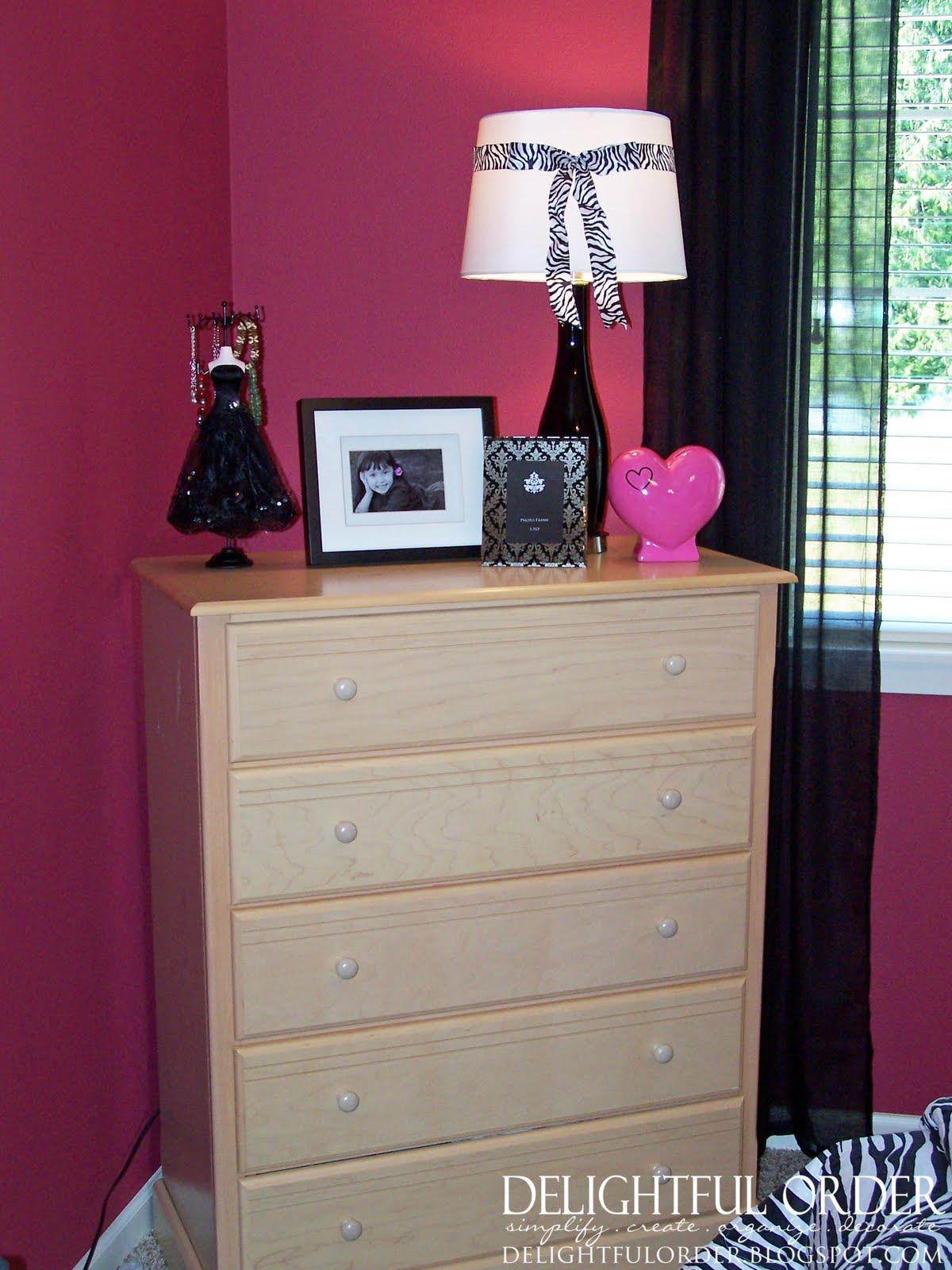 Delightful Order Hot Pink Black And White Girls Room