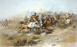 A scene from the Battle of the Little Bighorn, as depicted by the artist Charles Marion Russell