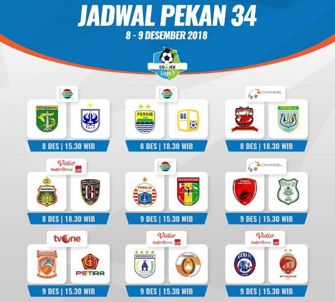 Jadwal Liga 1 2018 Pekan 34