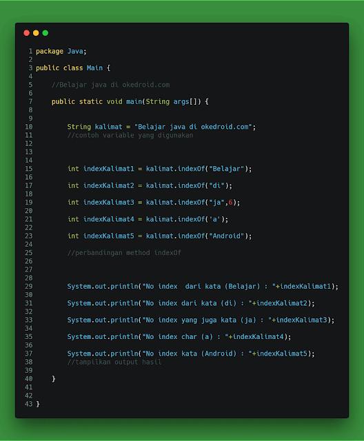 Method indexOf() di String java
