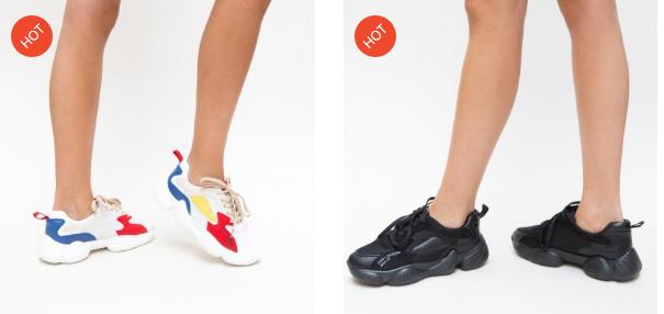 Adidasi moderni cu talpa groasa din spuma ieftini si frumosi