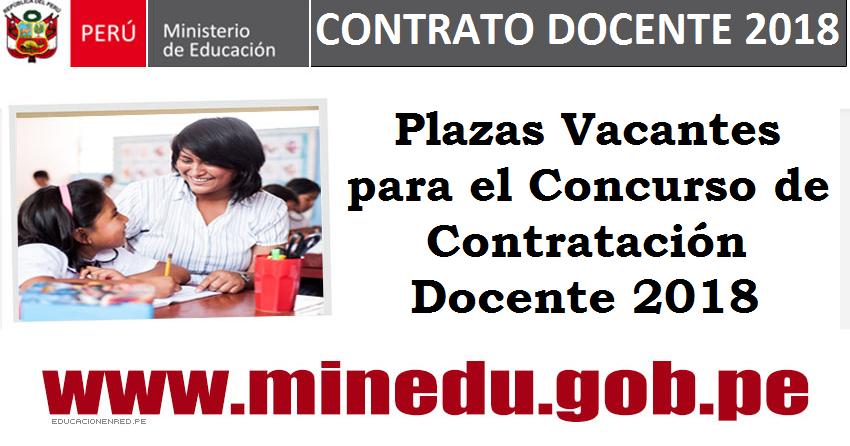 Plazas vacantes para el concurso de contrataci n docente for Concurso para plazas docentes