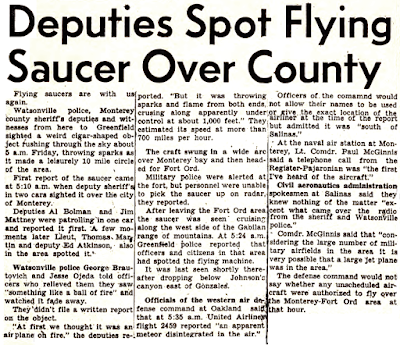 Deputies Spot Flying Saucer - Register-Pajaronian 1-4-1952