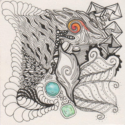 black and white abstract drawing with color gems in ink on paper using diva dance and finery tangles in zentangle style