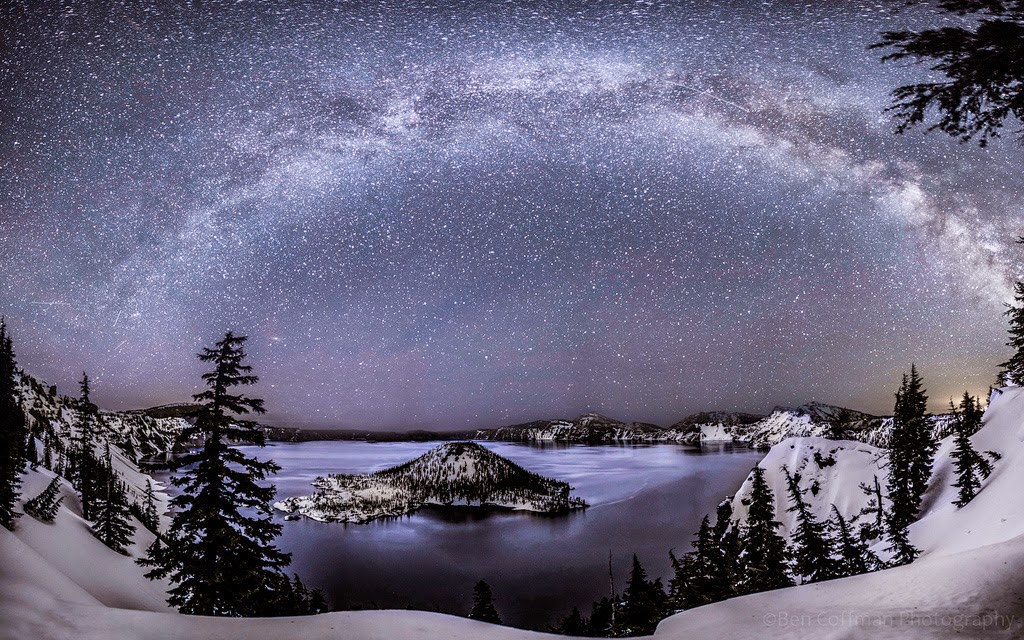 6. Lyrid Meteor Shower at Crater Lake - The World at Night with Clear Skies and No Light Pollution