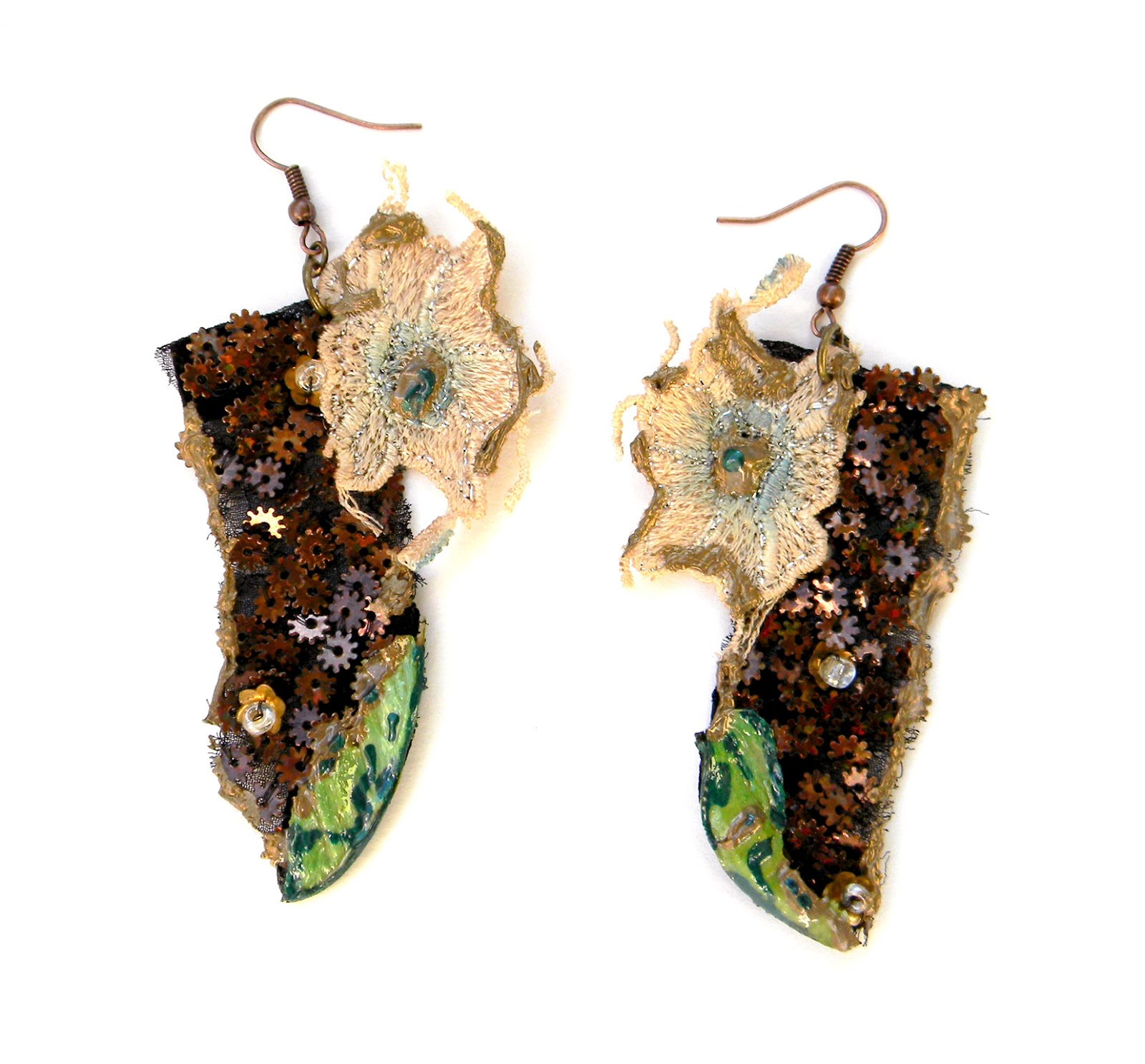 Handmade Earrings Steampunk Eco Chic Vintage Textile Jewelry