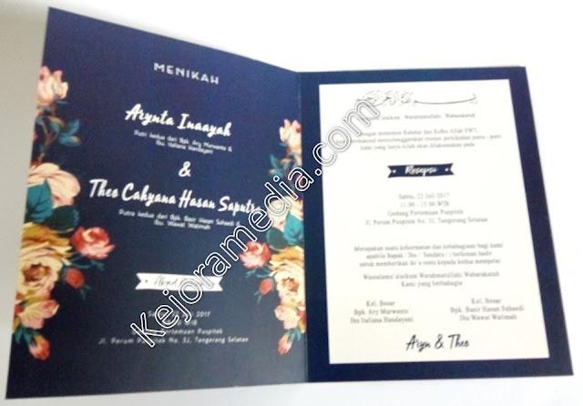 undangan motif bunga vintage murah