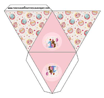 Cajita pirámide para fiesta de primer año de nena.