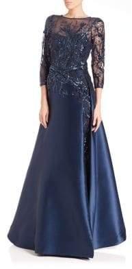 Teri Jon by Rickie Freeman Bead Top Satin Gown