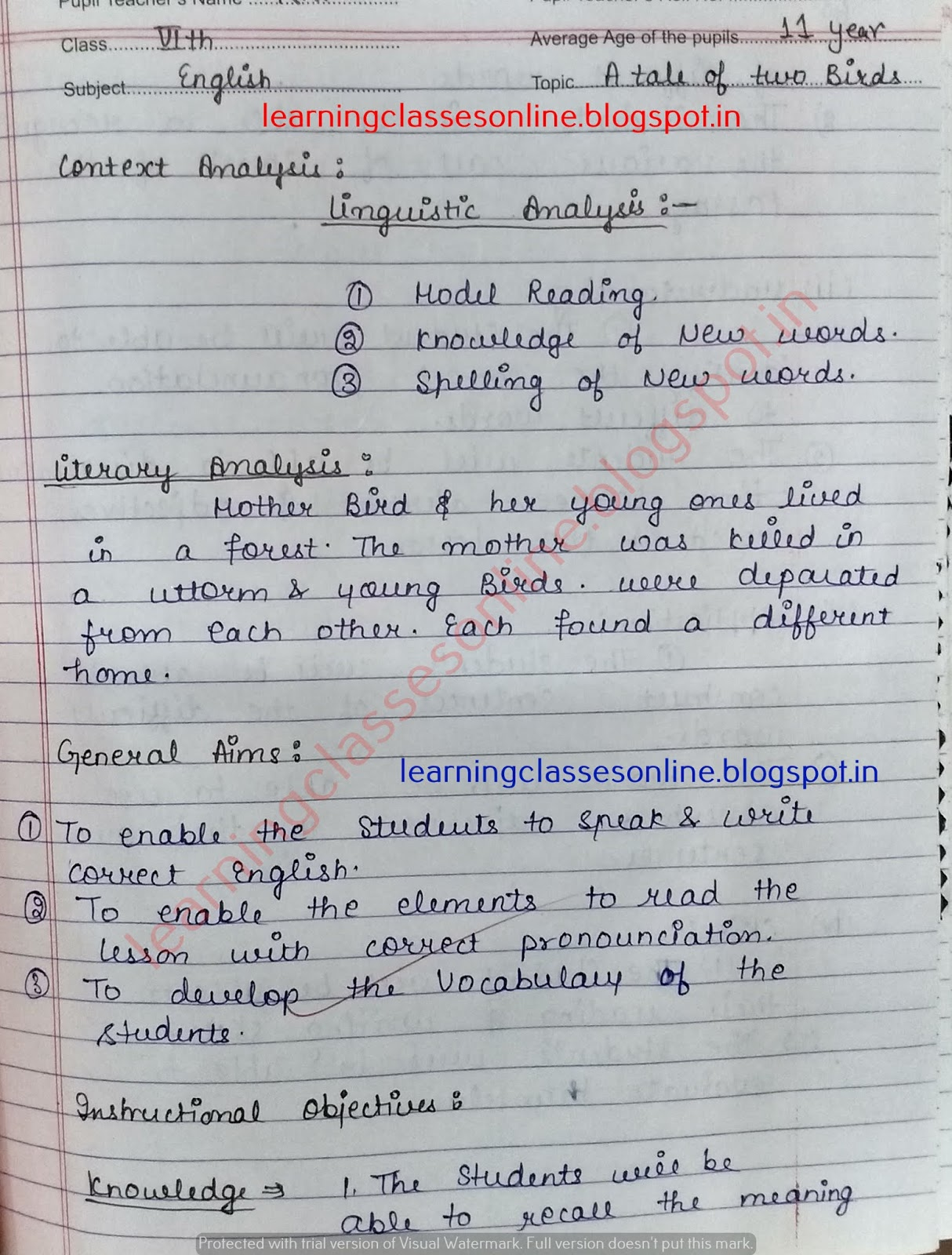 Real / Mega teaching Lesson Plan of English.