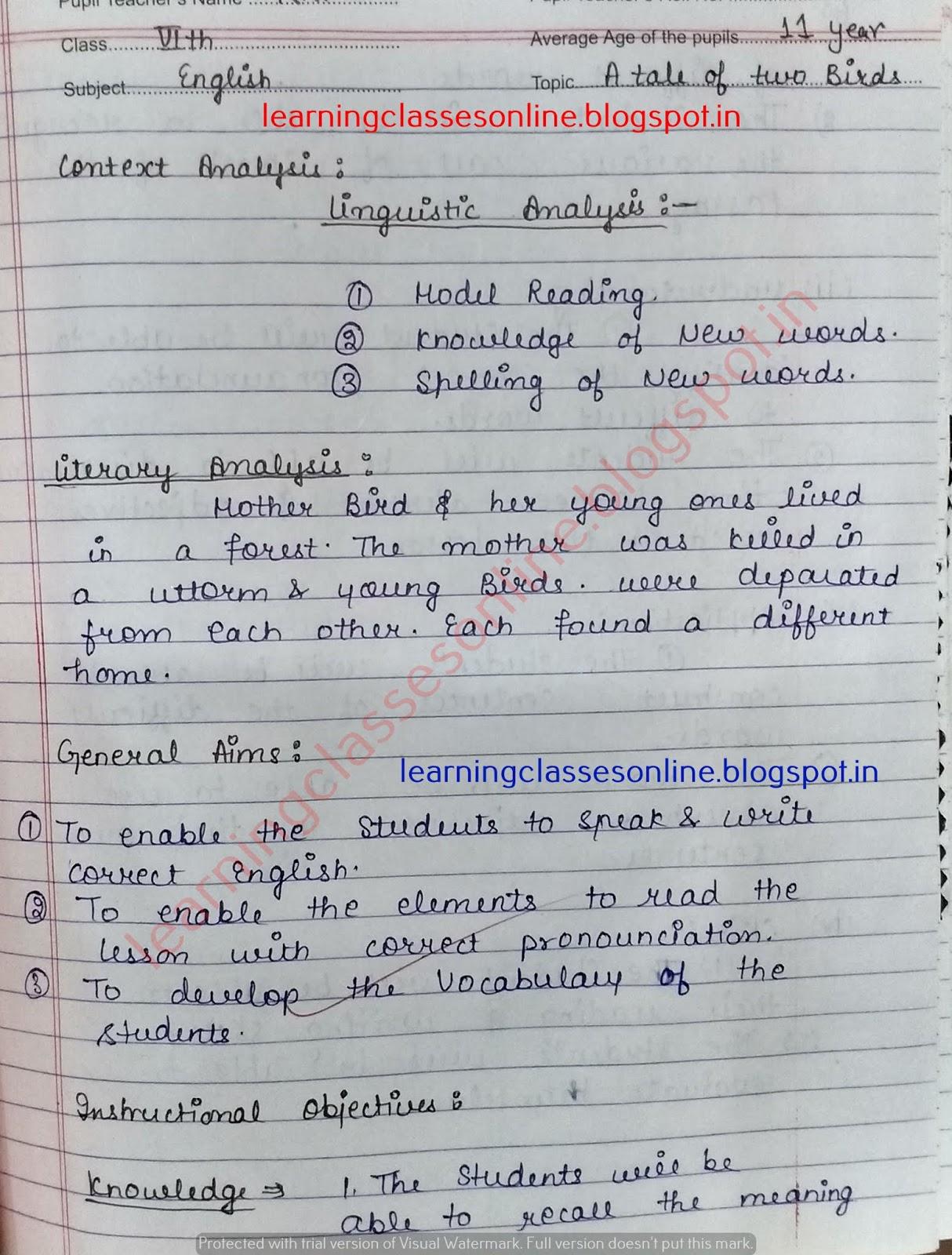 Real / Mega teaching Lesson Plan of English.