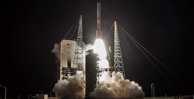 A Delta IV rocket lifts off from Space Launch Complex-37 with the Air Force's ninth Wideband Global SATCOM satellite. Credit: ULA
