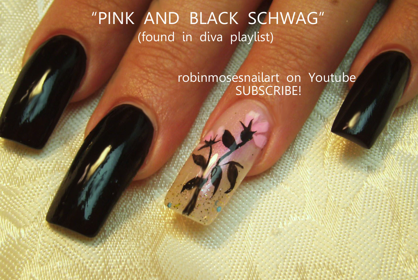 Nail Art By Robin Moses Pink And Black Diva Nails Diva Nails Diva