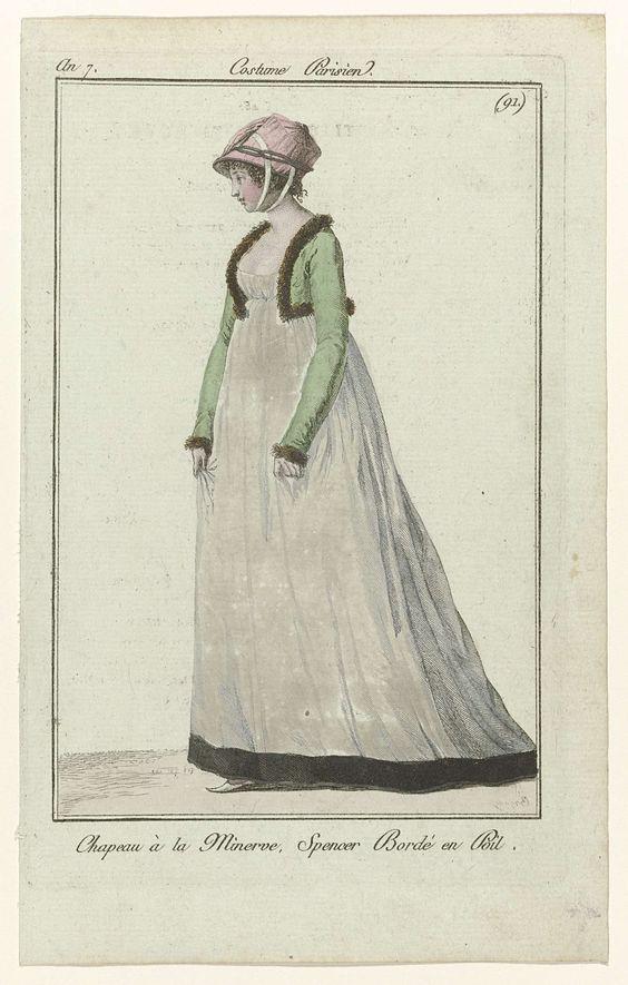 Kleidung um 1800: 1799 Costume Parisien Chapeau à la Minerve