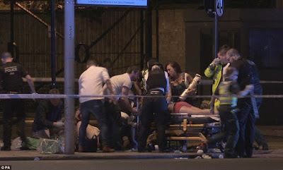 LONDON BRIDGE ATTACK: 5 terrorists armed with knives kill six and hurt 20 others with a van then went on a stabbing frenzy at nearby bars