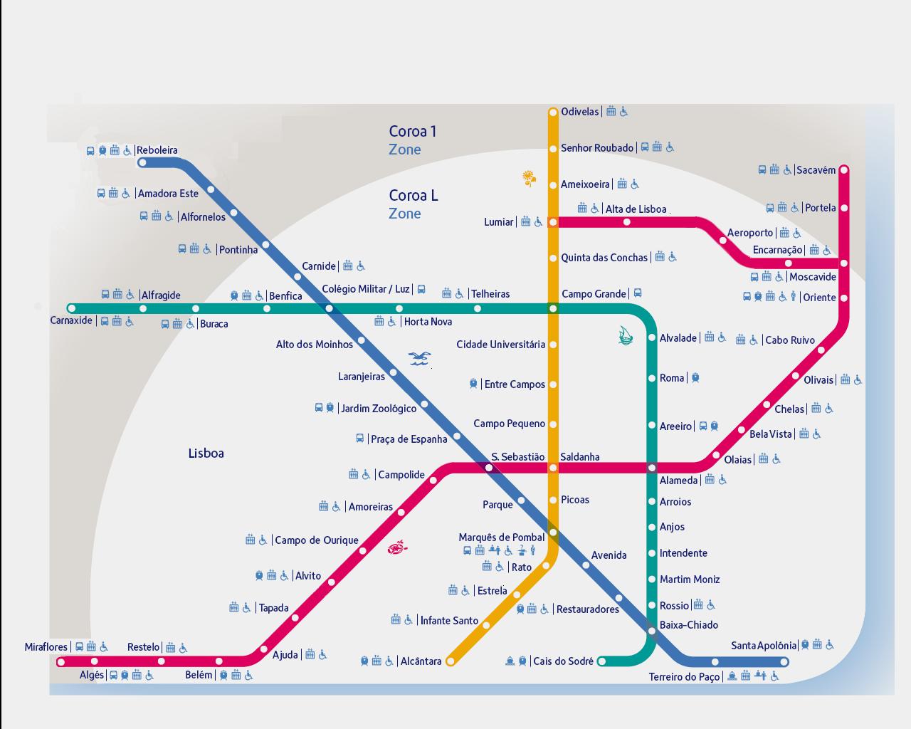 mapa do metro de lisboa Rede Do Metropolitano De Lisboa Mapa mapa do metro de lisboa