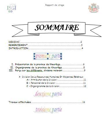 Rapport de stage la province ville de khouribga ofppt for Introduction rapport de stage cuisine