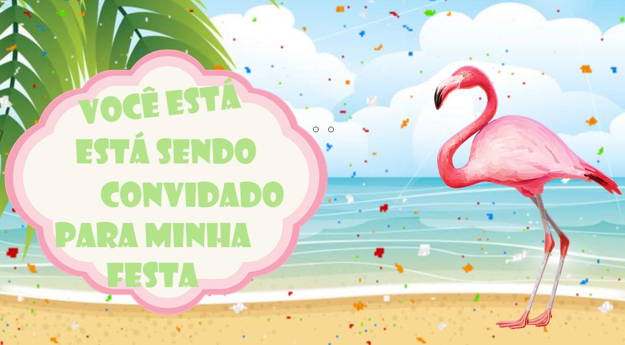 Convite Animado Flamingo Para Baixar