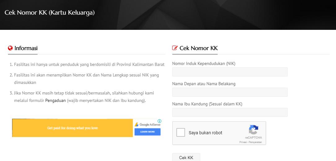Cara Cek No KK Online Berdasarkan Nama
