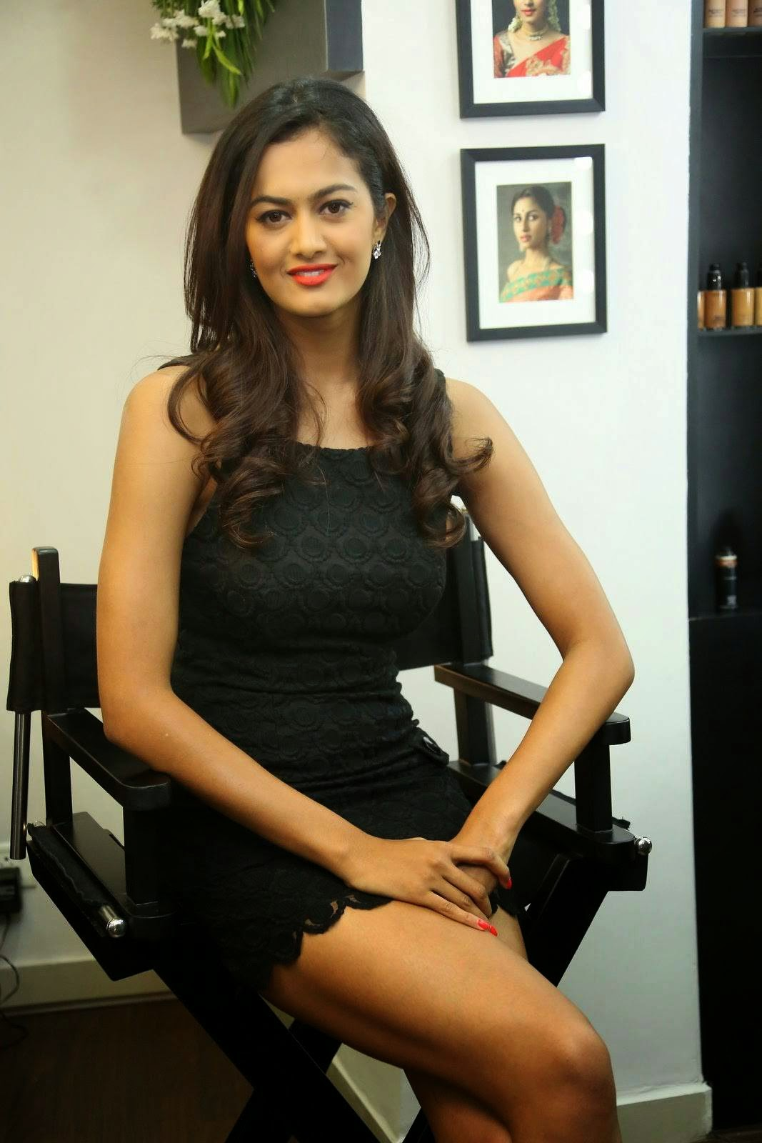 Shubra Aiyappa Photoshoot Stills, Shubra Aiyappa Hot Legs & thighs images in Short black Dress