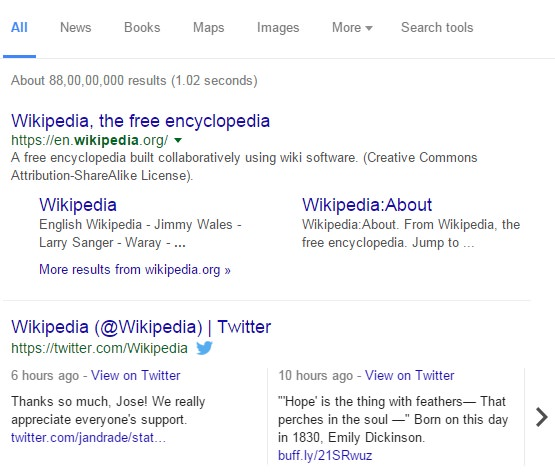 Wikipedia live tweets in Google SERP
