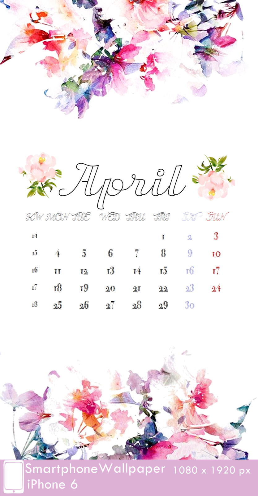 iPhone 6 Wallpaper Calendar 4 April 1080 x 1920 px