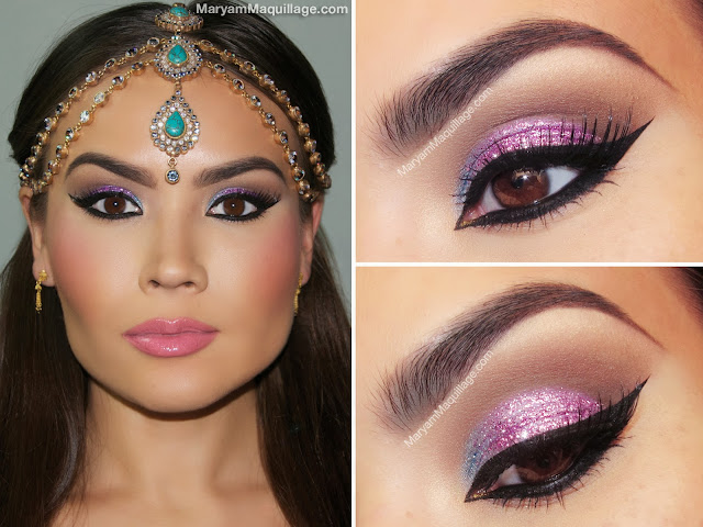 glitter eye makeup tutorial, cat eye tutorial, new years makeup, purple makeup, gold eyeshadow looks, glitter eyes, glittering eye, christmas eye makeup, sparkly eye makeup, eye rhinestones