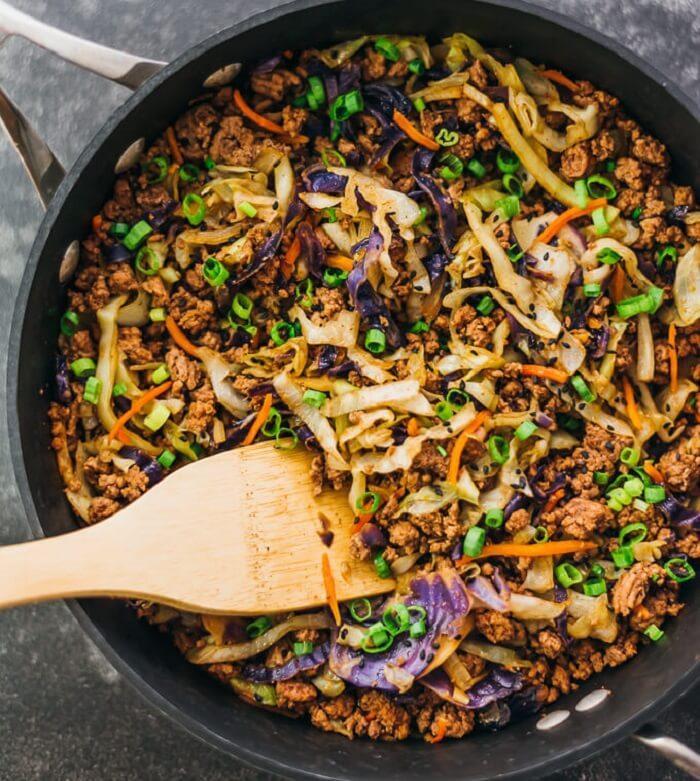 Ground Beef & Cabbage Stir Fry