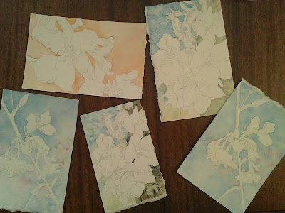 Cherry blossoms paintings in process...backgrounds completed.