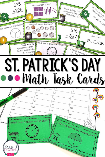 St. Patrick's Day Math Task Cards are the perfect way to practice place value, story problems, addition and subtraction, time, money and so many other important math skills. These 32 task cards make a no prep math center and serve as a review for the whole class or extra practice for fast finishers. Ideal for math practice for second grade but could also be used with first or third graders or in special education.