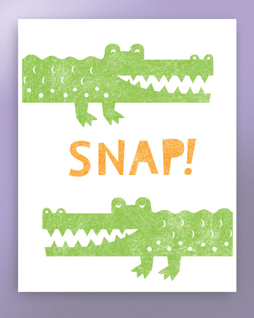 Two crocodiles and the word snap