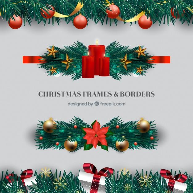 Set of elegant christmas borders Free Vector