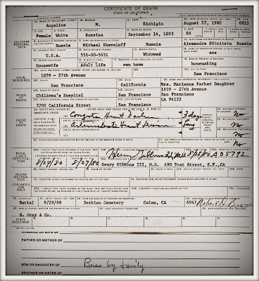 Angelina Kichigan Sheveloff Shevelev Death Certificate from 1980