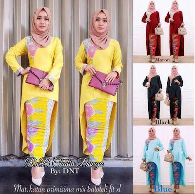 contoh baju pesta batik muslimah