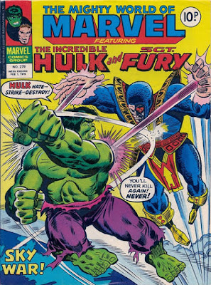 Mighty World of Marvel #279, Hulk vs Jack of Hearts who is firing rays at him from his hands as he flies through the air