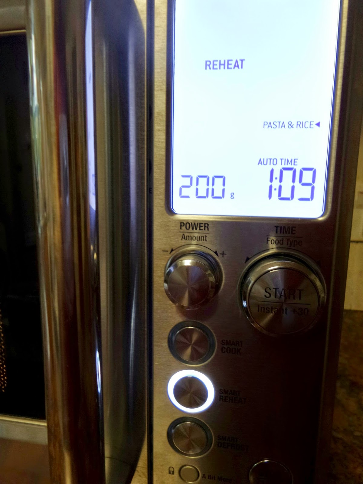 Reheat function on the Sage One Touch Microwave by Heston Blumenthal