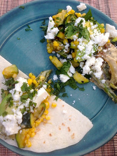 Creamy Zucchini, Corn and Roasted Poblanos Taco Filling by Lori Buff